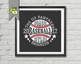 Baseball coach, Appreciation gift, baseball art, boy's bedroom art, team, typography, Baseball team, Personalised sport, Digital, BB1