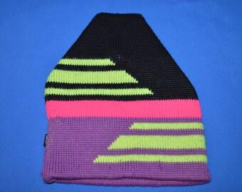 90s Purple Neon Green Wool Beanie Winter Hat