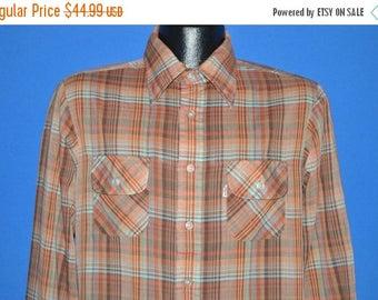 ON SALE 70s Red Brown Plaid Shirt Medium/Large