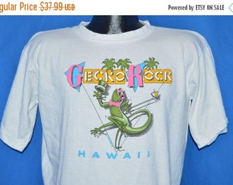 XMAS in JULY SALE 80s Gecko Rocks Hawaii Poly Tees t-shirt Large