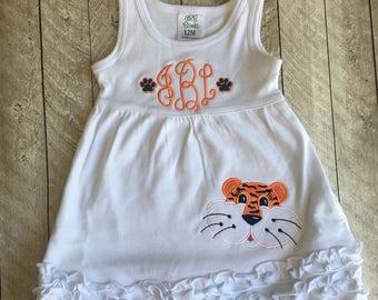 Tiger dress - Monogrammed Tiger ruffles dress - Football dress - Girls football outfit - Girls tiger dress witht monogram - applique dress