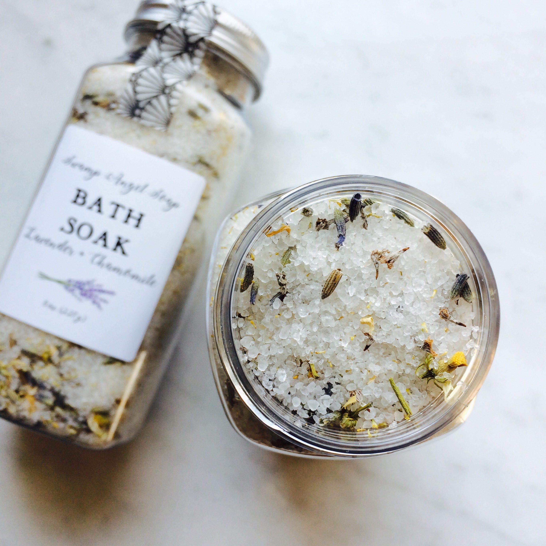 Lavender chamomile bath soak bath salts bath tea dead for Epsom salt in french
