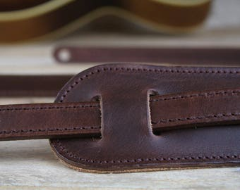 "GS24 Brown Leather Guitar Strap, vintage style, 3/4"" width with shoulder pad"