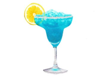 Iron on Fabric Appliqué - Blue Margarita Beach Drink Iced Alcohol Bartender Glitter DIY No Sew Patch