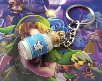 legend of zelda keyring, lon lon milk, lon lon keyring, ocarina of time, zelda keychain, the legend of zelda pendant, wind waker, minish cap