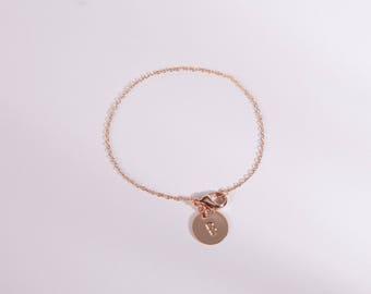 Pretty Bracelet Rose Golden Disc  Circle Stamped Letter