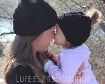 Mom and me beanie/ Mom & me hat/ Mother daughter hat/ Mommy and me set/ Wool baby beanie/ Wool pom beanie/ Wool pom baby beanie/ Mom and me