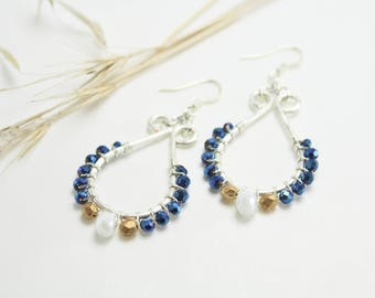White, Gold, Blue and Silver Teardrop Earrings