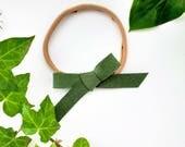 Handtied Bow, Baby Hand-tied Bow, Green Headband, Forest Green Headband, Newborn Bow, Infant Handtied Bow, Green Skinny Headband, Baby Bow