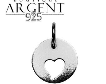 Silver charm heart 12.3 X 9.3 mm with ring