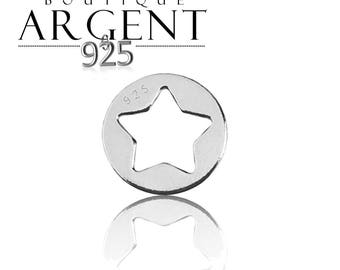 Sterling Silver openwork star charm 925 Silver finish round circle star