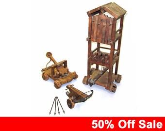 Sale! 50% off - Unique Set of Medieval Scale Models - Crossbow, Catapult, Siege tower. Renaissance Combat Knight Warrior