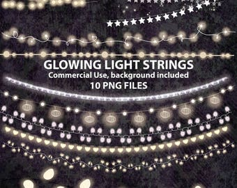 50% SALE String light clipart, christmas lights, fairy light, string of light, wedding lights, ligths clip art, lights clip art, enchanted l