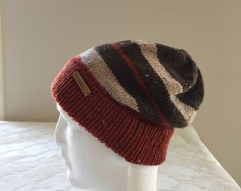 Knitted wool women's striped beanie