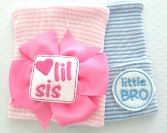 Newborn Hospital Hats, Little Sis, Little Bro- coming home hat- infant beanie-newborn girl bow-baby hat-newborn hat