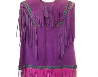 1980s purple leather fringe top