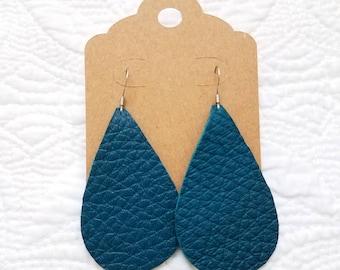 Genuine Leather Teardrop Earrings in Teal