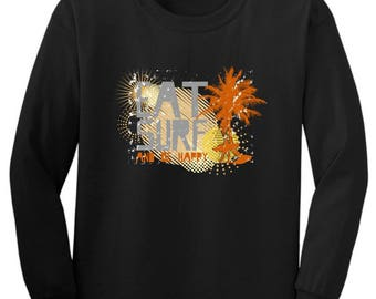 Cool Gift for Surfer Eat Surf and Be Happy Youth Long Sleeve T-Shirt  2400B - WRV-85