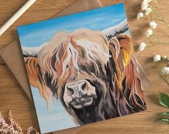 Highland Cow Card - Hamish the Highland Cow - Blank Card - Birthday Card - Scottish Cow Card - Art Card - Hairy Cow - Card for Scotsman