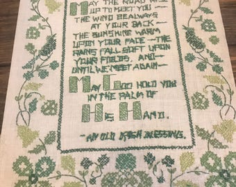 Vintage irish blessing cross stitch section. Shamrocks, clover