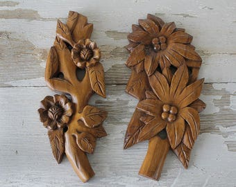 Set of 2 Vintage Hand Carved Floral Wooden Wall Hangings