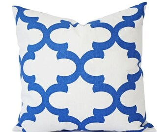 15% OFF SALE Two Blue Throw Pillows - Quatrefoil Decorative Pillow Covers - Blue Pillows - Quatrefoil Pillows - 12x16 16x16 18x18 20x20 22x2