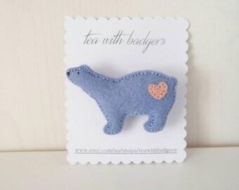 Polar Bear Felt Brooch - Wool Blend Felt Jewellery