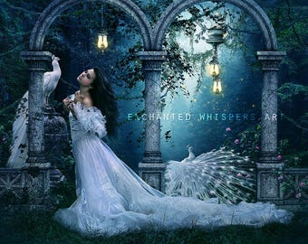 fantasy woman art print with white peacocks by Enchanted Whispers