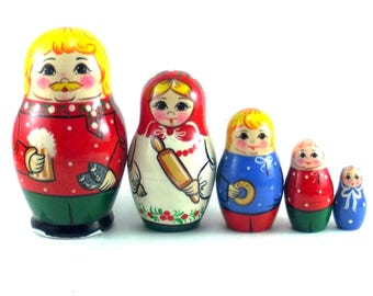 Ethnic Nesting Dolls 5 pcs Russian matryoshka doll Babushka set for kids Wooden authentic stacking handpainted dolls toys Russia Man wt beer