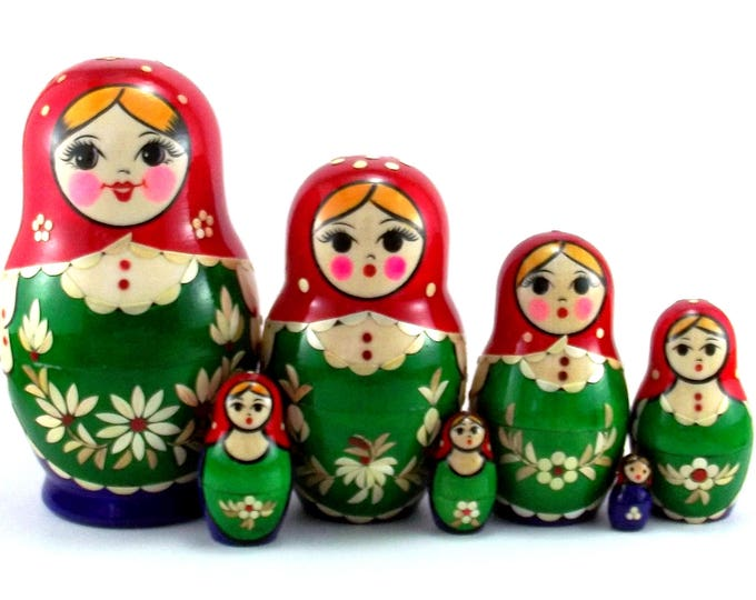 Nesting Dolls 7 pcs Russian matryoshka Babushka doll for kids set Authentic wooden stacking genuine toys Birthday gift for mom Inlaid
