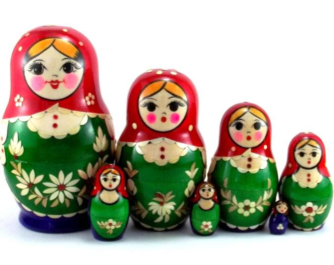 Nesting Dolls 7 pcs Russian matryoshka Babushka doll for kids set Authentic wooden stacking genuine toys Birthday gift for mom Inlaid