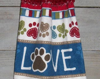 Maroon Crochet Top Hanging Kitchen Oven Printed Dishtowel Stripe Paw Prints in Tan Lime Blue Maroon LOVE*No Button/Button* Handmade by HCF&D