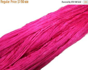 SALE 1 oz Mulberry Silk roving, hand dyed , color Magenta