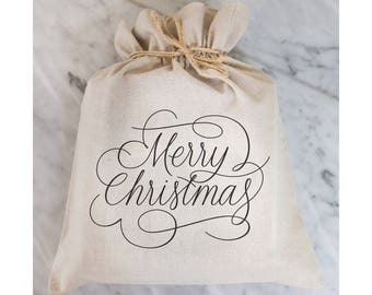 Merry Christmas Gift Bag // Gift Wrap // Packaging // Present // Party Favor // Gift Bag // Hostess Gift