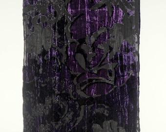 Vintage Silk velvet scarf purple flower design Women accessories