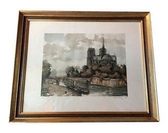 Original Etching of Notre Dame
