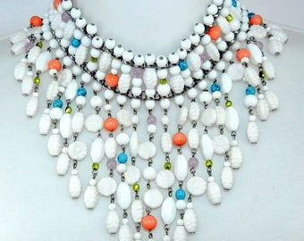 PRIME DEALS Vintage William DeLillo ?  Necklace, DeLillo ? Runway Necklace, Statement Necklace, Miriam Haskell Style, Costume Jewelry Jewell