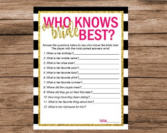 Bridal Shower Game, Who Knows the Bride Best, How Well Do You Know the Bride, Pink and Gold Bridal Shower