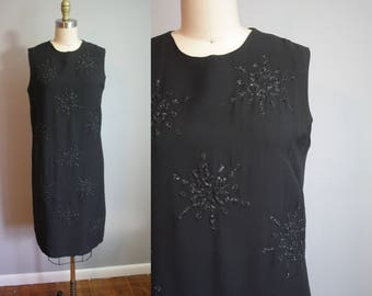 1960s Party Dress // Black Snowflakes // Medium
