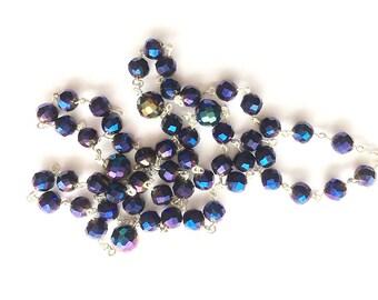 Handmade Lavender Blue Faceted Rosary