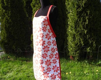 Poinsettia Print Apron with red tie