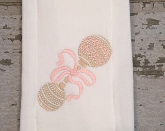 Vintage Baby Burp Cloth, Embroidered Baby Burp Cloth, Monogrammed Burp Cloth, Rattle Burp Cloth