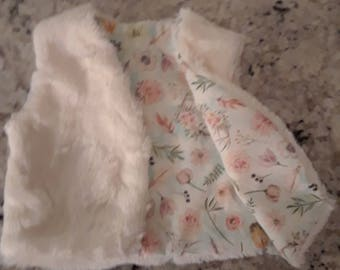 Infants and Toddlers Textured Faux Fur Vest, Baby Girls, Baby Fur Vest