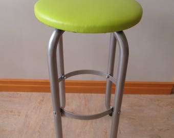 Vintage Restored Mid Century Metal Counter Stool Lime Green Silver