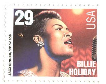 5 Unused Billie Holiday Postage Stamps // Jazz Singer Songwriter // Jazz Musician Postage Stamps for Mailing