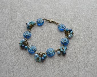 """Lagoon"" bracelet with Czech glass beads"
