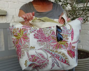 Reversible Beach or Travel Bag Striped and Floral includes Drawstring Bag