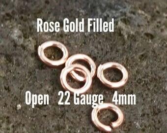 50 ea. 14k Rose Gold Filled 4mm Open Jump Rings 22g ga Gauge