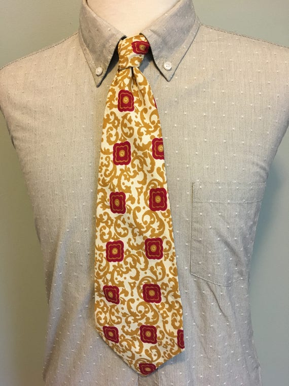 1920s Bow Ties | Gatsby Tie,  Art Deco Tie ON SALE Gold/White/Red Abstract Ivy + Floral Pattern Mens Nylon Wide Tie c1950sON SALE Gold/White/Red Abstract Ivy + Floral Pattern Mens Nylon Wide Tie c1950s  AT vintagedancer.com