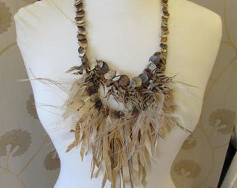 Tribal feather necklace.